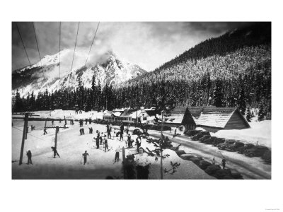 View of Skiers at Snoqualmie Pass Summit - Snoqualmie Pass, WA Prints by  Lantern Press