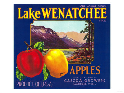 Lake Wenatchee Apple Label - Cashmere, WA Láminas por  Lantern Press
