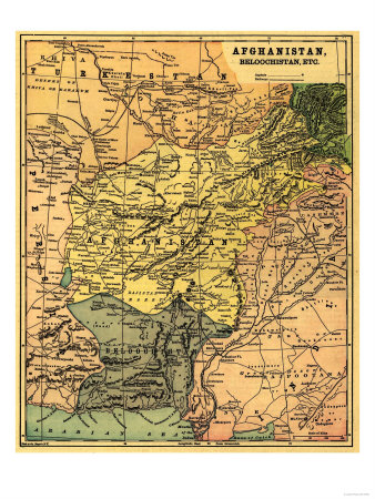 Afghanistan and Surrounding Countries - Panoramic Map - Afghanistan Prints by  Lantern Press