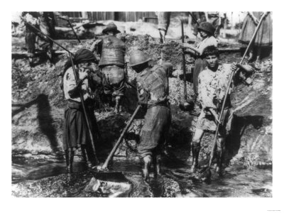 Women Shovel Oil from Well in Romania Photograph - Romania Prints by  Lantern Press