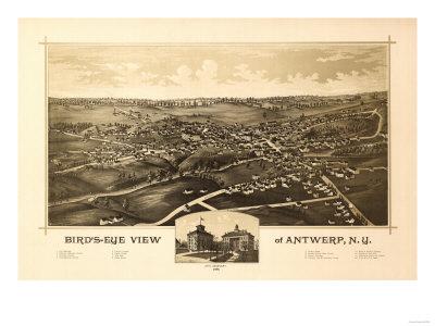 Antwerp, New York – Panoramic Map – Antwerp, NY Prints by  Lantern Press
