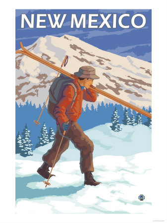 Skier Carrying Skis - New Mexico Art by  Lantern Press