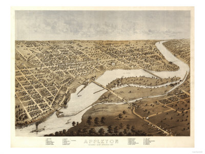 Appleton, Wisconsin - Panoramic Map Prints by  Lantern Press