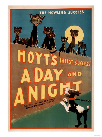 """""""A Day and a Night"""" Cats and Dogs Musical Poster Prints by  Lantern Press"""
