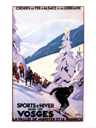 Alsace-Lorraine, France – Spectators Watching Skier Poster – Alsace-Lorraine, France Prints by  Lantern Press