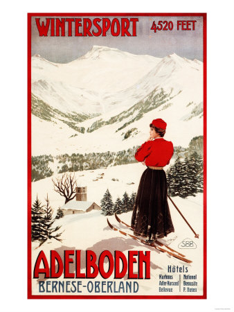 Adelboden, Switzerland - Woman Skier Overlooking Adelboden Poster Prints by  Lantern Press