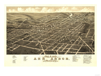 Ann Arbor, Michigan - Panoramic Map Prints by  Lantern Press