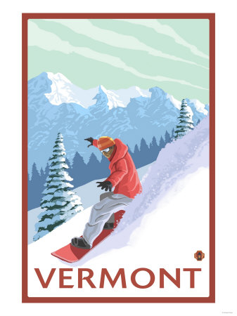 Vermont - Snowboarder Scene Prints by  Lantern Press