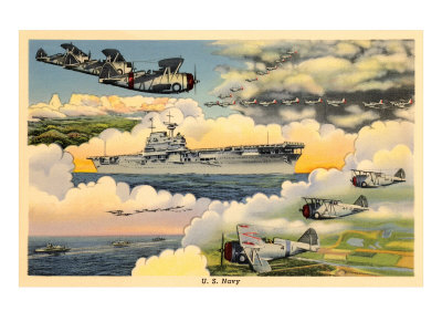 U.S. Navy Planes and Aircraft Carrier Prints
