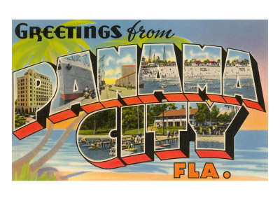 Greetings from Panama City Florida Art Print, popular college travel destination