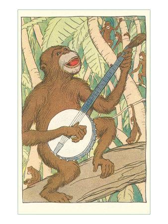 Chimp Playing Banjo Print