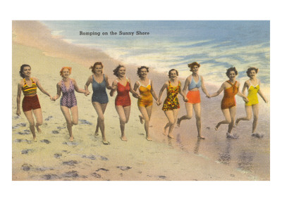 Women Running on Beach Art