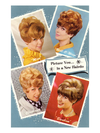 Multiple 60s Hairstyles Giclee Print
