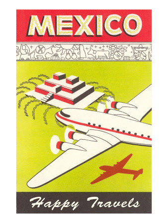 Mexico, Plane over Pyramid, Happy Travels Prints