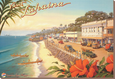 Visit Lahaina Stretched Canvas Print by Kerne Erickson