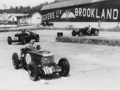 MG, Alfa Romeo, and Bugatti in British Empire Trophy Race at Brooklands, 1935 Photographic Print