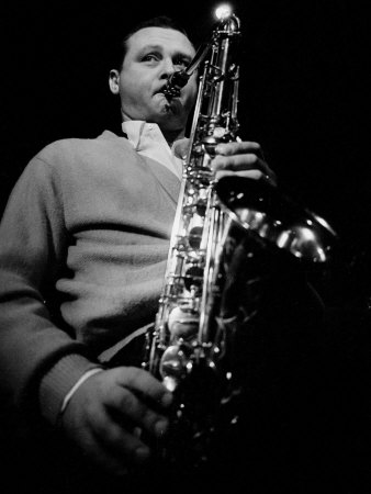 Jazz Performer Stan Getz at Ronnie Scott's Jazz Club, Master Tenor Saxophonist Fotografisk tryk