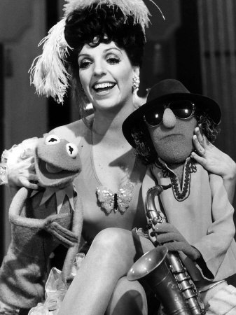 Liza Minnelli with Her Muppet Favorites Kermit the Frog and Zoot, During Rehearsals on Tuesday Fotografisk tryk