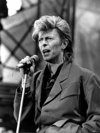 David Bowie Pictured in Concert at Cardiff Arms Park During His Glass Spider Tour, 21st June 1987 Photographic Print