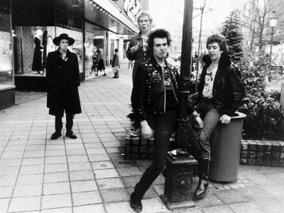 Sid Vicious Singer Punk Band the Sex Pistols with the Band in Holland .