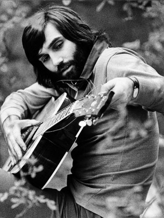 George Best Tuning His Guitar May 1974 Photographic Print