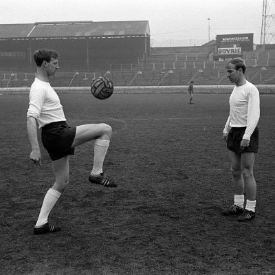 Brothers Jack and Bobby Charlton in Training in an Empty Stadium, April 1965 Photographic Print