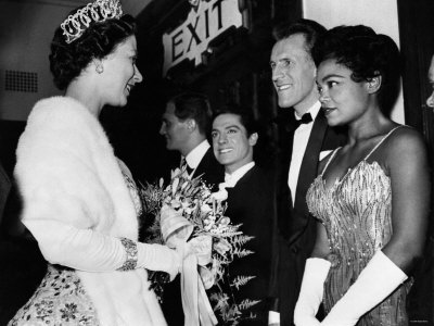 The Queen Talking to Bruce Forsythe and Eartha Kitt. November 1958 Photographic Print