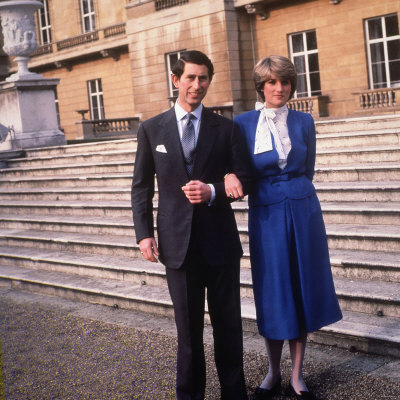Prince Charles Son of Queen Elizabeth with His Fiancee Lady Diana Spencer February 1981 Fotografisk tryk