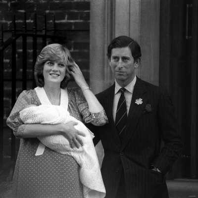 Prince Charles Princess Diana Prince William Outside Hospital After Birth, June 1982 Fotografisk tryk