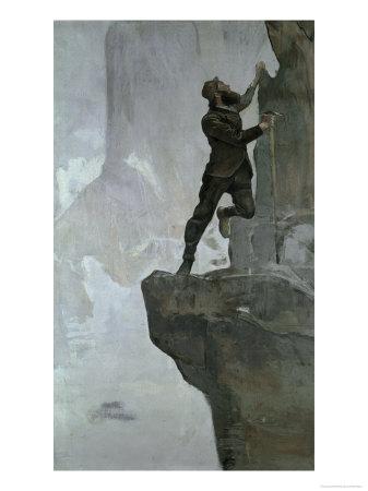 Ascent III Gicléetryck av Ferdinand Hodler