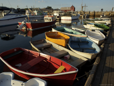 Rockport Harbor with Lobster Fishing Boats and Row Boats Photographic Print by Tim Laman
