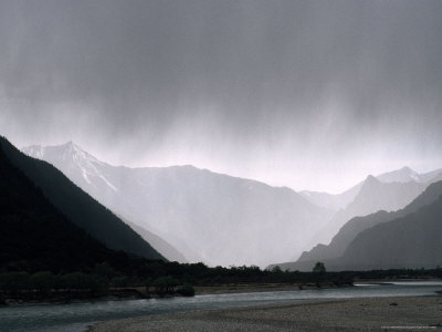 Rain Falls Over a Remote Valley East of Lhasa Photographic Print by Gordon Wiltsie