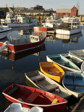 Lobster Fishing Boats and Row Boats in Rockport Harbor, Ma Photographic Print by Tim Laman