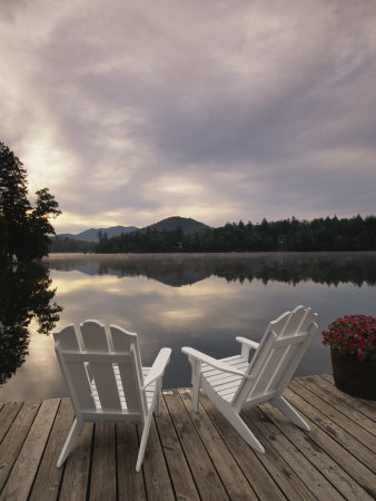 Pair of Adirondack Chairs on a Dock at the Mirror Lake Inn Photographic Print by Michael Melford