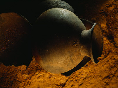 Mayan Pot in Cave in Belize is Decorated with a Monkey Photographic Print by Stephen Alvarez
