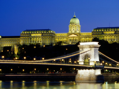 Royal Palace on Castle Hill at Night with Chain Bridge Below, Buda Photographic Print by Paolo Cordelli