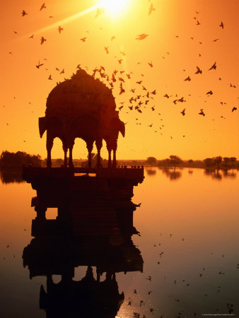 Jain Temple Silhouetted in Fateh Sagar Lake Photographic Print by Paolo Cordelli