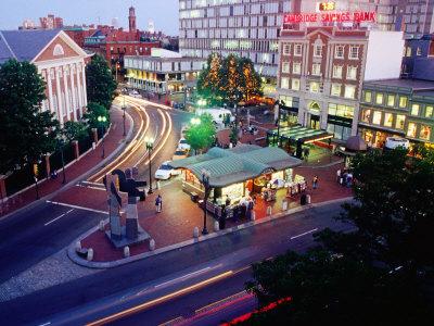 Overlooking Illuminated Harvard Square at Dusk Photographic Print by Diego Lezama
