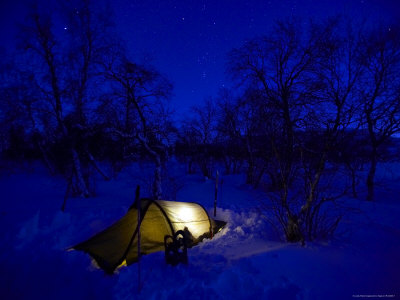 Camping in Minus 40 Degrees Celsius Photographic Print by Johnny Haglund
