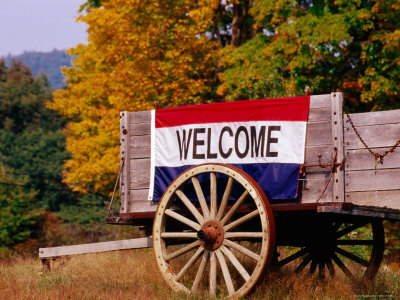 Welcome Sign on Wagon in Rural New England Photographic Print by Claver Carroll