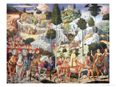 Procession of the Magi: Wall with Lorenzo Giclee Print by Benozzo Gozzoli