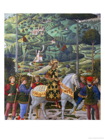 Procession of the Magi: Wall with Emperor John VII Paleologus Giclee Print by Benozzo Gozzoli