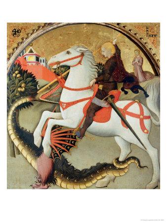 Saint George and the Dragon Giclee Print by  Sano di Pietro