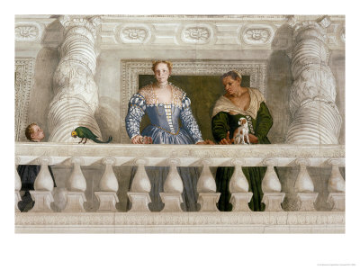 Giustiniani Barbaro and His Nurse with a Puppy Looking Out from a Mock Balcony Giclee Print by Paolo Veronese
