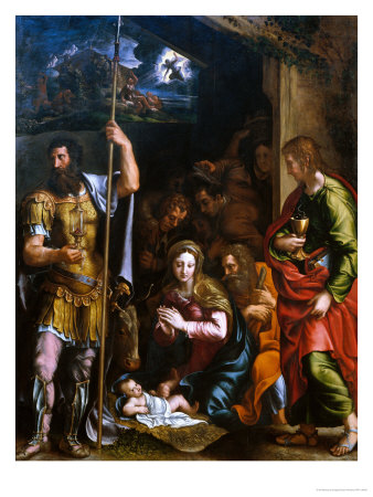 Adotation of the Shepherds with the Saints Longinus and John the Evangelist Giclee Print by Giulio Romano