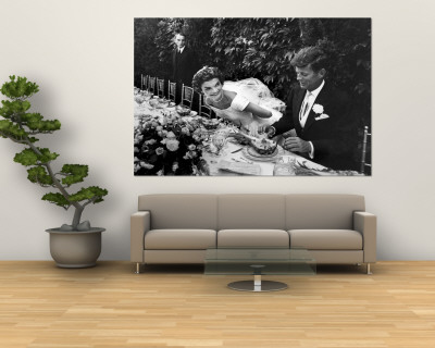 Sen. John Kennedy and His Bride Jacqueline in Their Wedding Attire Premium Wall Mural by Lisa Larsen