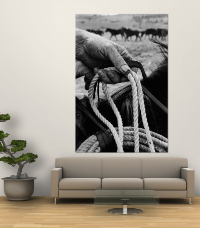 Close Up on Weather Beaten Hand of Whistle Mills Ranch Foreman Holding Rope Premium Wall Mural by John Loengard