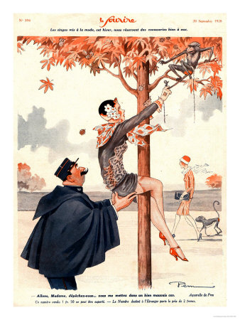 Le Sourire, Glamour Erotica Police Climbing Trees Magazine, France, 1920 Giclee Print