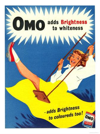 Omo, Washing Powder Products Detergent, UK, 1950 Giclée-tryk