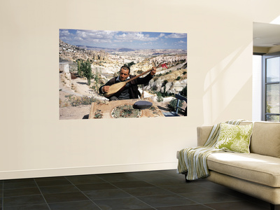 Turkish Man Playing a Type of Mandolin Called a Sis Premium Wall Mural by Bill Ray